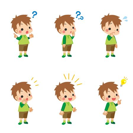 A set of illustrations of various facial expressions thinking little boy thinking.