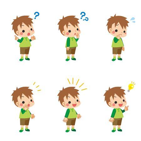 Un ensemble d'illustrations de diverses expressions faciales pensant à un petit garçon pensant.