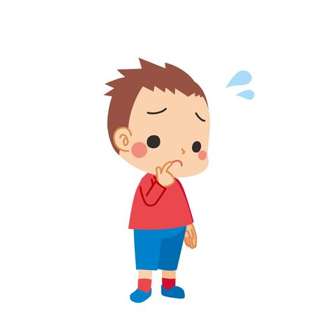 Illustration of a cute boy in trouble.