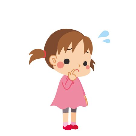 Illustration of a cute girl in trouble.