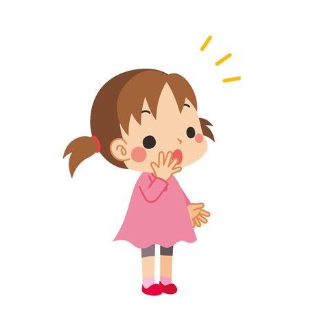 Illustration of a little girl who notices something. Çizim