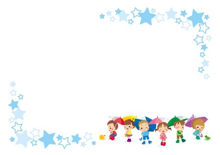 Illustration of a star pattern frame with children holding an umbrella.