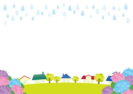 Illustration of hydrangea and cityscape in rainy day.