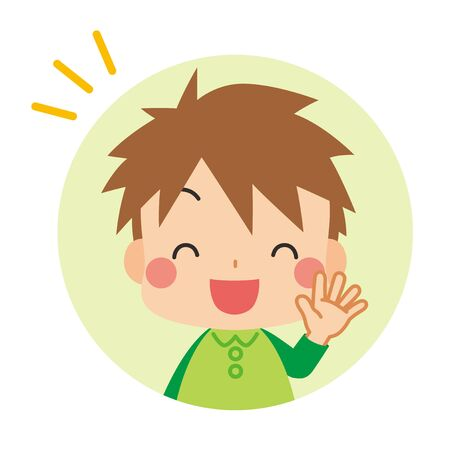 Illustration of a little boy smiling and saying hello.