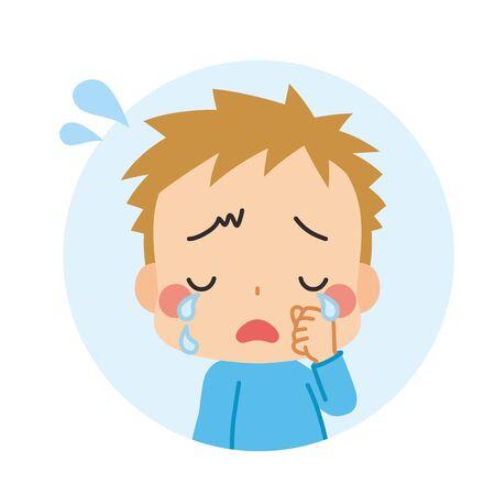 Illustration of a little boy crying. Vektorgrafik