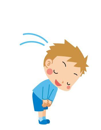 Illustration of a little boy politely bowing.