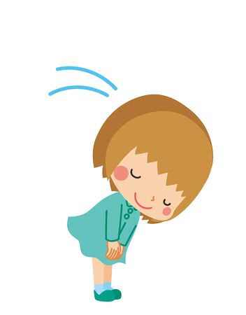 Illustration of a little girl politely bowing.