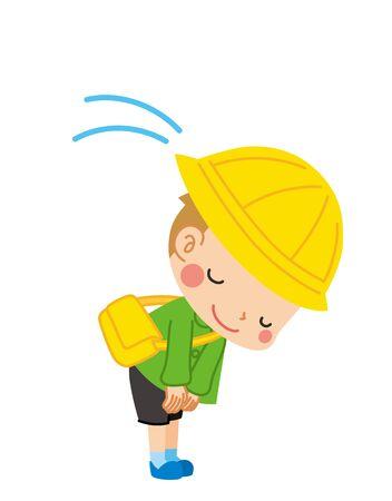 Illustration of a kindergarten boy politely bowing.