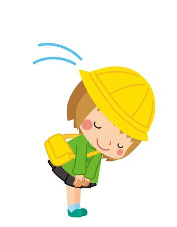 Illustration of a kindergarten girl politely bowing. 일러스트