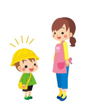 Illustration of kindergarten child is greeting to child care worker. Ilustración de vector