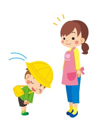 Illustration of kindergarten child is bowing to child care worker.