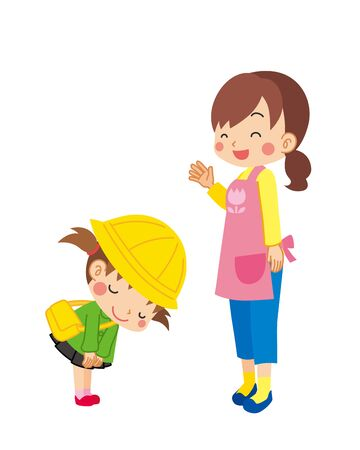 Illustration of kindergarten child is bowing to child care worker. Ilustración de vector