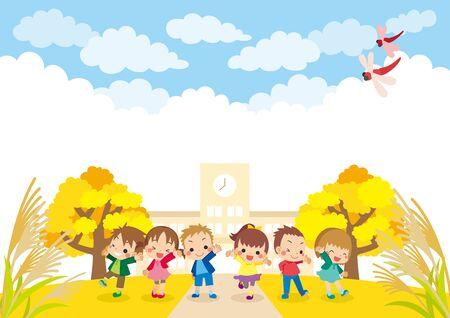 Illustration of grade school student and Autumn landscape. Banco de Imagens - 150524133