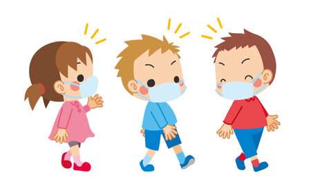 Illustration of a child explaining infectious disease prevention measures.