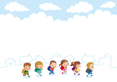 Illustration of Elementary school students running through town on an autumn afternoon.