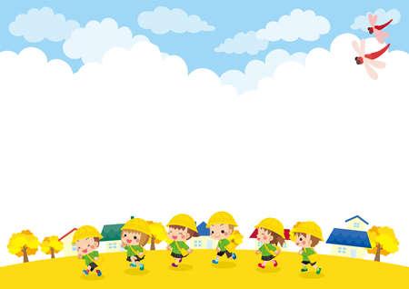 Illustration of kindergarten kids running through town on an autumn afternoon.