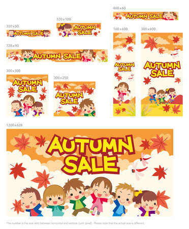 Web banner for Autumn Sale, illustration of Illustration of a happy little child.