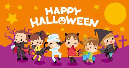 Web banner for halloween season, Illustration of cute kids enjoying Halloween in costume. Illustration