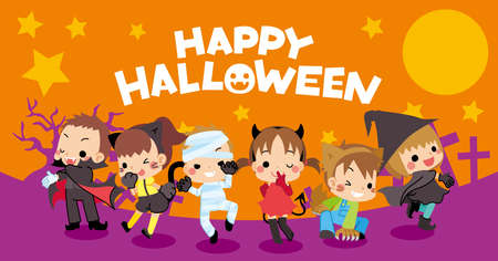 Web banner for halloween season, Illustration of cute kids enjoying Halloween in costume. Иллюстрация