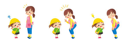 A set of illustrations of a kindergartner asking a kindergarten teacher a question. Ilustración de vector