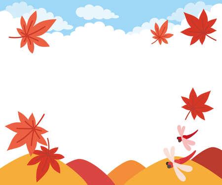 Illustration of Japanese landscape in autumn. 向量圖像