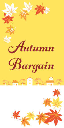 Web banners for fall bargains. Illustration of a town with autumnal leaves dancing.