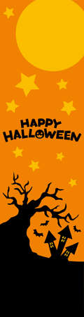 Illustration of a spooky Halloween night scene for Web banner. Ilustração