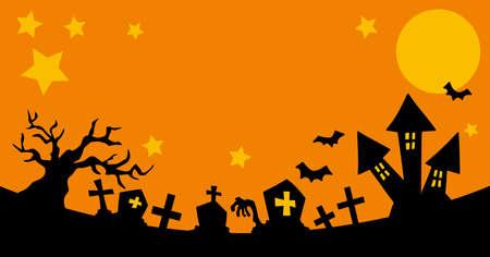 Illustration of a spooky Halloween night scene.