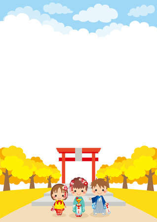 Illustration of the scene of the Brothers and sisters celebrating Shichi-Go-San.