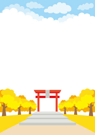 Illustration of the scenery in front of a Japanese shrine. Ilustração
