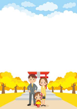 Illustration of the scene of the family celebrating Shichi-Go-San.