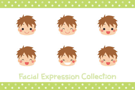 Illustrations of children's facial expressions icon.