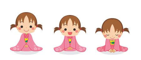 Illustration of a cute child is take a bow in a kimono.