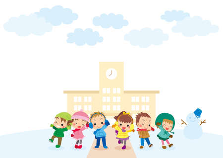 Illustration of a snow scene and cute children. Children are smiling in front of the elementary school. 免版税图像 - 156064437