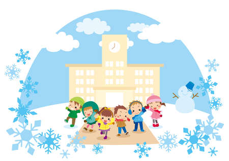 Illustration of a snow scene and cute children. Children are smiling in front of the elementary school.