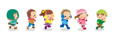 Illustration of cute children in winter clothes running.