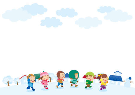Illustration of cute children running in a snowy town.
