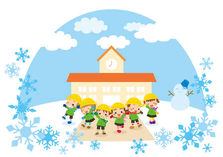 Illustration of cute kindergarteners standing in front of kindergarten at snowy day.