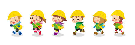 Illustration of cute kindergarteners wearing winter clothes. They are having fun running.