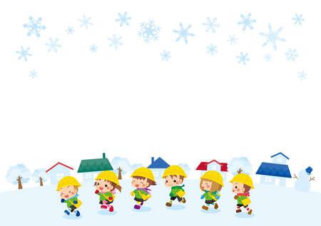Illustration of cute kindergarteners running around in a snowy city.
