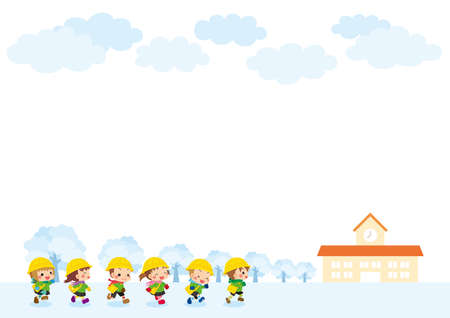 Illustrations of cute kindergarteners running toward kindergarten. Background of a tree-lined road with snow.