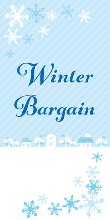 Illustration of a cute snowy town. Web banner for Winter Sale. Ilustrace
