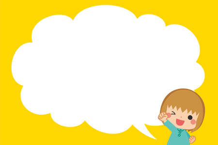 Illustration of motivated little child and Speech bubble.