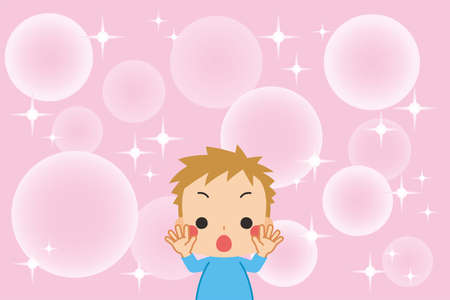 Illustration of a little child who is delighted. Pink background and glittering effect. Ilustrace