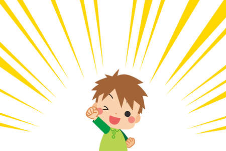 Illustration of a motivated little child.