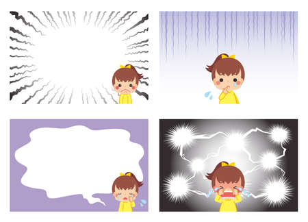 Illustration of a crying little girl.