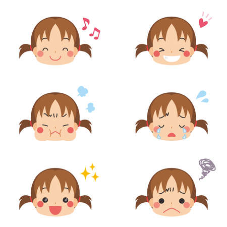 Illustration of a little girl with various facial expressions. Ilustrace