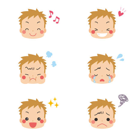 Illustration of a little boy with various facial expressions.