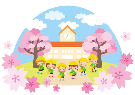 Illustration of cute kindergarteners. They are standing in front of their kindergarten. Ilustrace