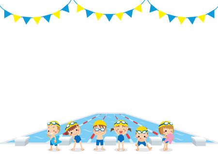 Illustration of little children getting ready to swim in front of a swimming pool.